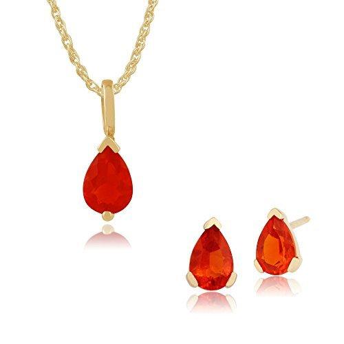 Gemondo Bague en or jaune 9carats Fire Opal Poire Boucles d'oreille à tige et collier de 45cm de