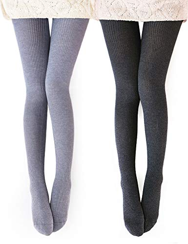 Vero Monte 2 Pairs Womens Wool Blend Ribbed Tights (Dark Grey + Light Grey)