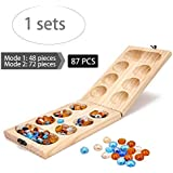 Mancala Board Game, Mancala Real Wood Folding Set For Kids, Wood Board Games For Seniors, The Mancala Glass Bead Game, Travel Board Games For Adults, Large Solid Wood Board Game Set With Marble Chess