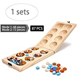 Mancala Board Game with Stones, Wood Folding Mancala Board Game for Kids, Africa Mancala Stones Glass Bead Games For Adults, Large Solid Wood Board Game Set with Marble Chess