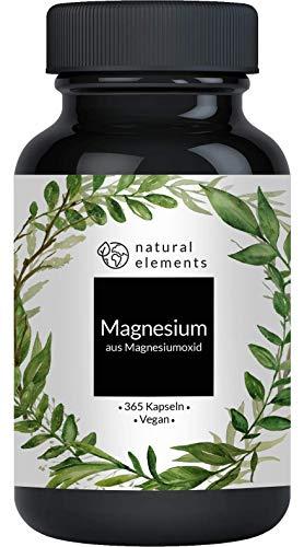 Magnesium - 365 Kapseln - Einführungspreis - 400mg elementares Magnesium pro Kapsel - Laborgeprüft, hochdosiert, vegan und hergestellt in Deutschland