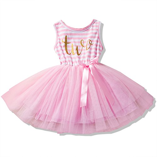 NNJXD Baby Girls Stripes Sleeveless Printed Birthday Pink Party Dress Size (90) 13-24 Months Pink