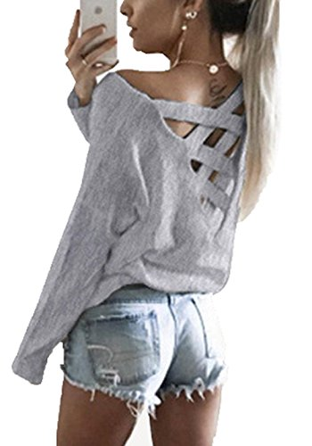 Pull Longues Tops Gris Sexy Sweater Dos Col CWCentury Tricot T Nu Manches Chandail Shirt en Automne Hiver Femme Crois en Vrac V 1nwnqvA8Fx