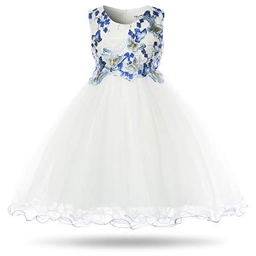 (CIELARKO Girls Dress Flower Kids Butterfly Wedding Party Dresses,2-3 Years)
