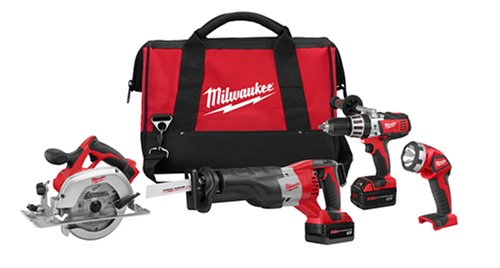 V18 Lithium Ion Hammer Drill (Milwaukee 2690-24 18-Volt Hammer-Drill, Sawzall Reciprocating Saw, Circular Saw, and Worklight Combo Kit)