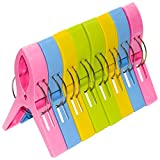 O-Best 8 Pack Bright Color Beach Towel Clips for Beach Chair Pool Chairs Cruise- Plastic Towel Clamp Clip Holder -Jumbo Size- Keep Your Towel from Blowing Away, Clothes Lines (8Pack)