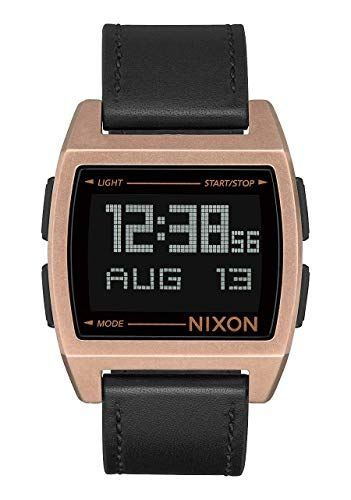 Nixon Men's Base Stainless Steel Quartz Watch with Leather-Synthetic Strap, Brown, 22 (Model: A1181872)
