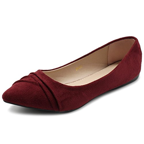 Burgundy Suede Shoes - Ollio Women's Shoe Ballet Dress Faux Suede Pleated Pointed Toe Flat 1BN1833 (10 B(M) US, Burgundy)