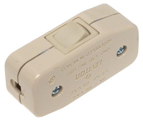 Leviton 5410-I 3Amp 125V Heavy Duty Feed Thru Rocker Appliance Switch, Ivory - Feed Thru Cord Switches