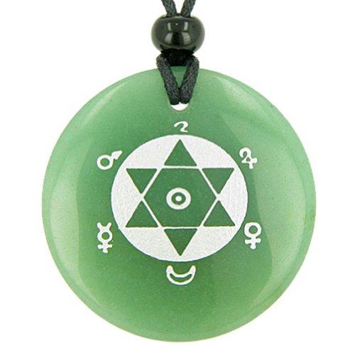 King Solomon Seal of Success Amulet Green Quartz Pendant Necklace -
