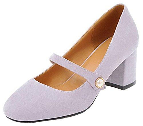 Idifu Mujeres Faux Suede Sexy Heel Square Hebilla De La Correa De Corte Bajo Mid Block Heels Pump Mary-jane Zapatos Purple
