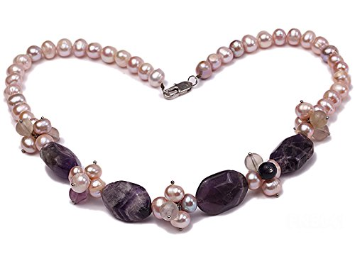 Natural Pink Pearl (JYX Natural 8-9mm Pink Round Freshwater Pearl with Amethyst and Crystal Necklace)