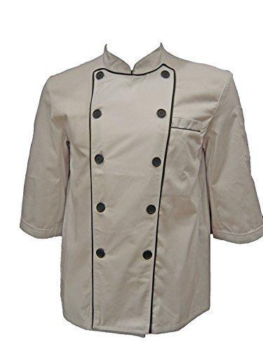 White Unisex Chef Jacket with Black Lining (3/4 Sleeves) Size: X-Large