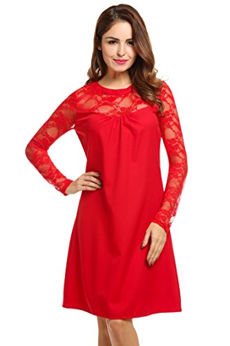 Hotouch Women's Lace Patchwork Loose Chiffon Dress (Red M)