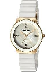 Anne Klein Womens AK/2714WTGB Diamond-Accented Gold-Tone and White Ceramic Bracelet Watch