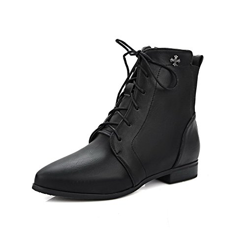 Allhqfashion Women's Soft Material Pointed Closed Toe Solid Low-top Low-Heels Boots Black 5YhUQ8p
