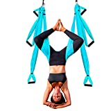 Aerial Yoga Trapeze | Air Yoga Swing Kit | Premium Arial Yoga Silk Swing for Inversion Sling Exercise with 6 Extension Hanging Straps & Beginner Guide | Home & Outdoor Hammock Swing Aerial set