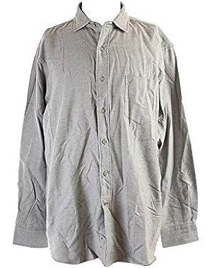 Oxford Mens Long Sleeve Knit Button Down Shirt Gray XL