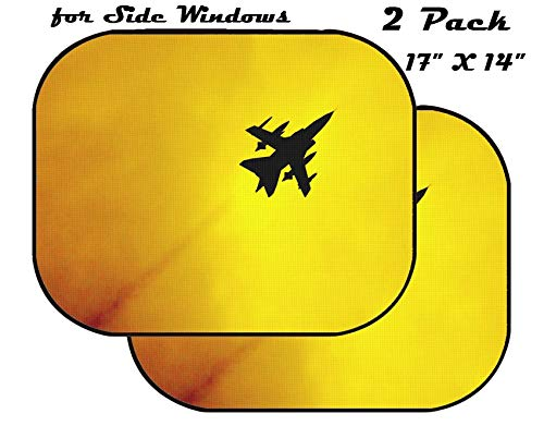 MSD Car Sun Shade for Side Window - UV Protector for Baby and Pet - Block Sunlight - Image of Airplane Jet Sky air Aircraft Fly Silhouette Flight Sunset Travel Plane Wing Transportation Aviation AER