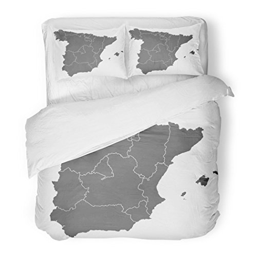 SanChic Duvet Cover Set Gray Grey Map Spain Region Abstract Area Border Cartography Decorative Bedding Set 2 Pillow Shams King Size by SanChic