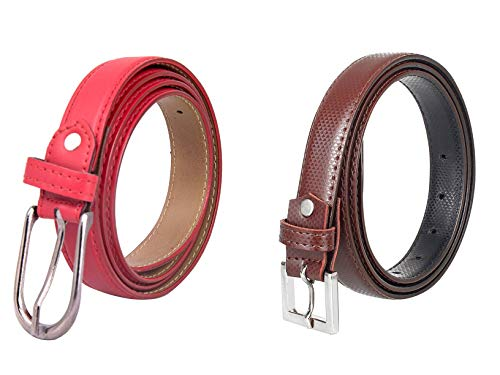 Amicraft Girl's Casual & Formal Artificial Leather Reversible Belt Pack Of 02 (Free Size (28-44) cut to fit belt Red/Brown)