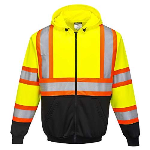 Portwest Kansas Zipped Hoodie Hi Vis Visability Safety Protective Work Wear Jumper ANSI 3, 3 XL