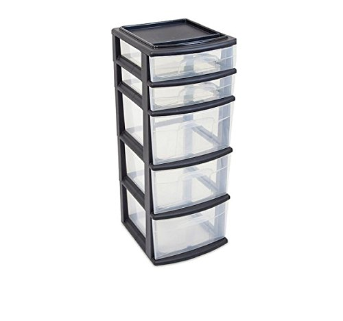 Case of 2, 5 Drawer Durable Tower, Black/White - 5 Drawer Storage