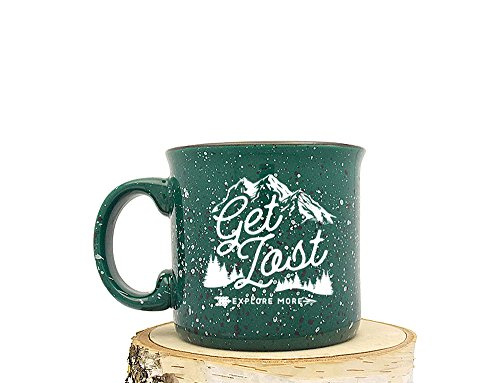 Campfire Mug - Get Lost Explore - Speckled Color Mug - Screen Printed Coffee Mug