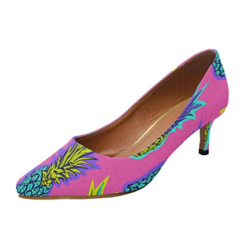 - INTERESTPRINT Women's Low Heels Dress Shoes Pointed Toe Pump Bright Colored Tropical Pineapple in A Zine Culture Style US8
