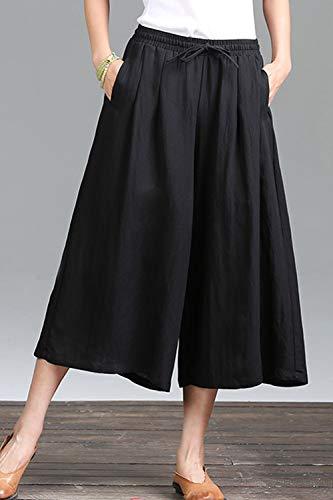 Noir Loose Taille Femmes Palace Pantalon Simgahuva Pant Long Linen Capris Élastique Y7qvw6
