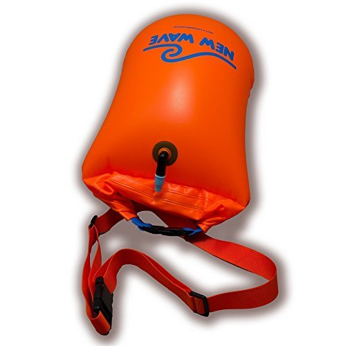 New Wave Swim Buoy - Swim Safety Float and Drybag for Open Water Swimmers, Triathletes, Kayakers and Snorkelers, Highly Visible Buoy Float for Safe Swim Training (PVC Large 20 Liter Orange)