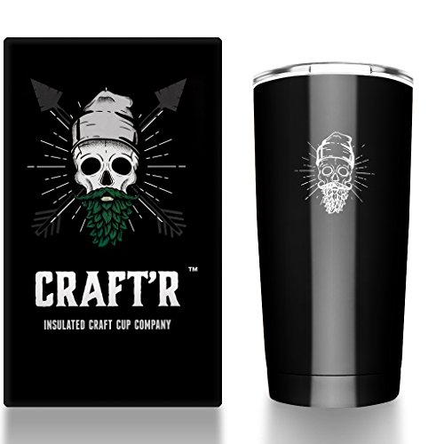 Craftr Insulated Beer Cup - Stainless Steel Vacuum Insulated Tumbler - Holds Your Beer at the Perfect Tasting Temperature (Gloss Black)