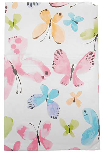 Spring Fling Watercolor Butterflies Vinyl Flannel Backed Tablecloth on White Background (60