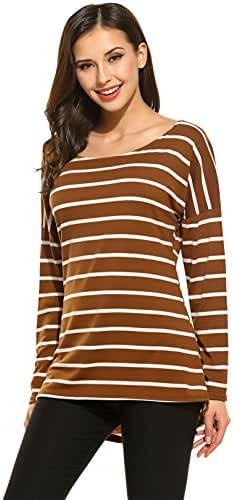 Halife Women's Round Neck Striped Stretch Basic T Shirt Tops Long Sleeve Blouse