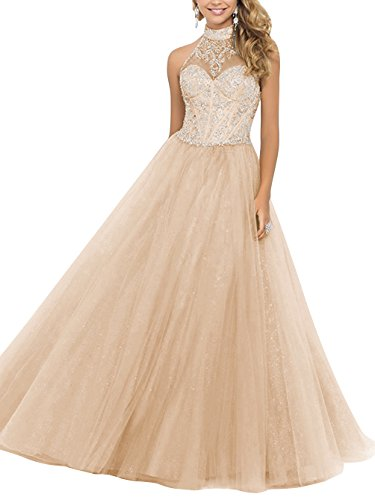 Dresstells® LongProm Dress High Neck Tulle Backless Evening Gowns with Beads Champagne Size14