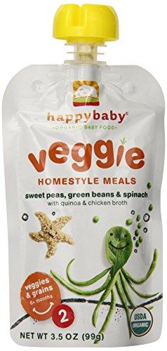 Счастливый Органические Baby Baby Food 2 Homestyle питание, Душистый горошек, зеленая фасоль и шпинат, 3,5 унции (в упаковке 16)