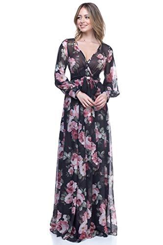 - RICARICA Chiffon Maxi Dress (Black Rose #2, S)