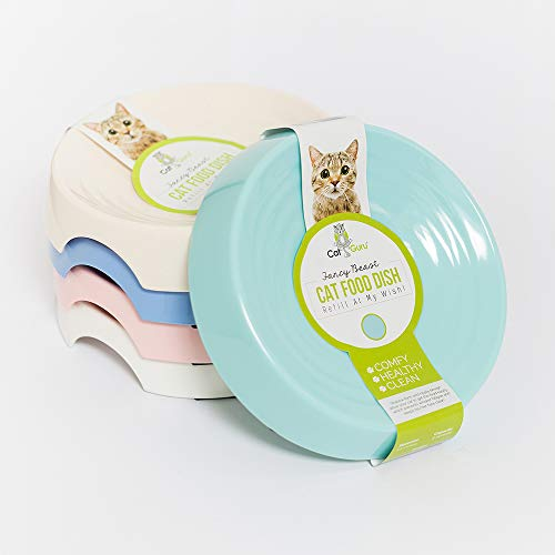 CatGuru New Premium Whisker Stress Free Cat Food Bowl, Reliefs Whisker Fatigue, Wide Cat Dish, Non Slip Cat Feeding Bowl, Shallow Cat Bowl, Non Skid Pet Bowl for Cats, Round, Aruba