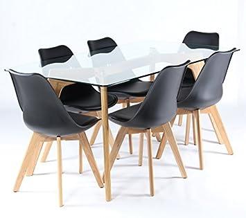 Charles Jacobs Lounge Küche Esstisch mit sechs Schwarz Stühle Set ...