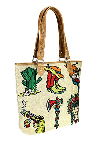 Montana West Canvas Craft Beach Travel Shopping Tote Purse (Cactus boots skull tomahawk gun) by Montana West
