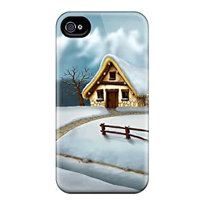 Iphone 4/4s Hard Back With Bumper Silicone Gel Tpu Case Cover Lovely Winter