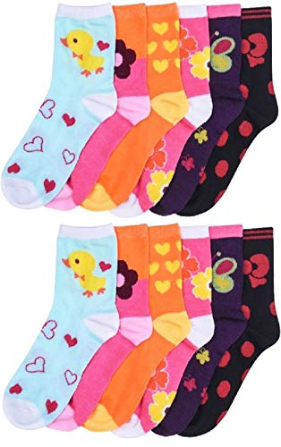 12 Pairs Pack Kids Girls Colorful Creative Fun Novelty Design Crew Socks (6-8, FRIENDS)