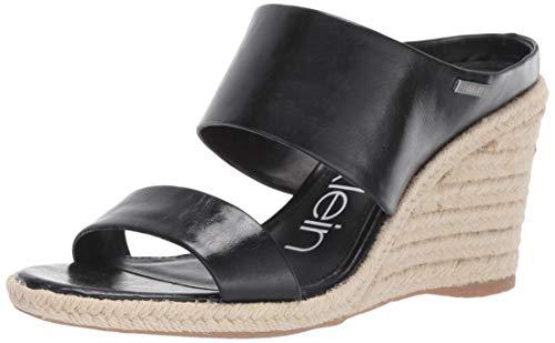 Calvin Klein Women's Brooke Wedge Sandal Black Varnished Crackle Leather 6 M US