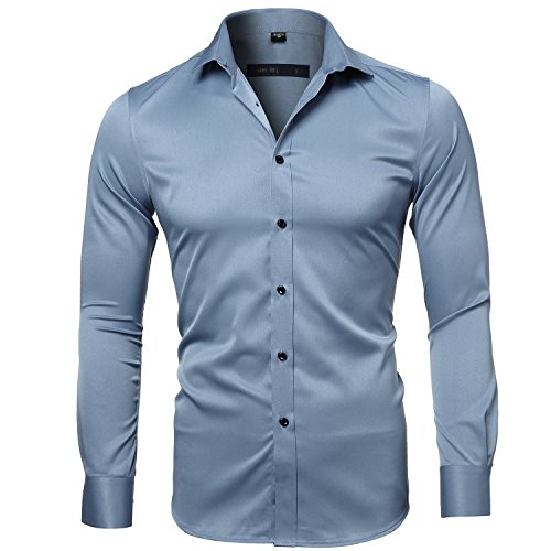 (INFLATION Men's Bamboo Fiber Dress Shirts Slim Fit Solid Long Sleeve Casual Button Down Shirts, Elastic Formal Shirts for Men)