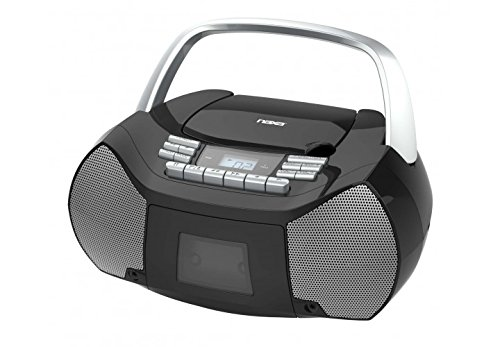 NAXA Electronics NPB-268 Portable CD/Cassette Boombox (Silver/Black) (Record Cd Cassette Radio Player)