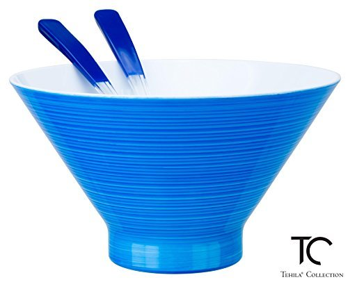 Tehila Collection Lucite Salad Serving Bowl Large 2.78 Quart With 2 Matching Spoons, Brushed Blue