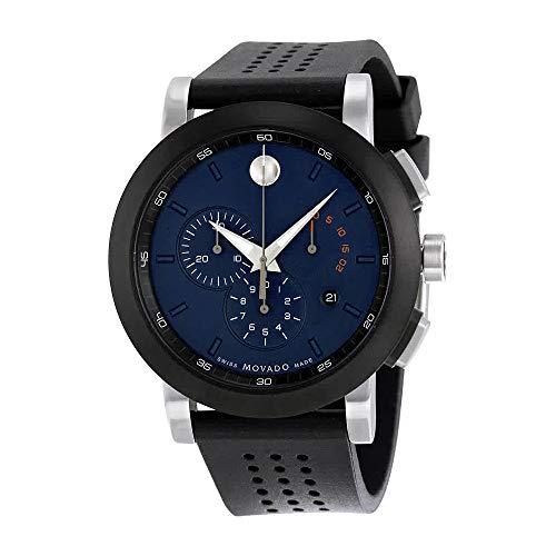 Movado Museum Blue Dial Black Silicone Strap Men's Watch 0607003