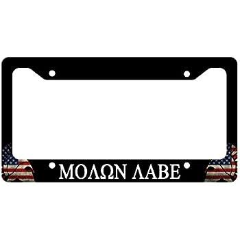 Molon Labe America Helmet Flag License Plate Frame 2nd Amendment NRA Gun  Control