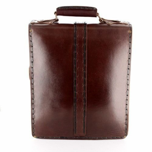 13 inch Handmade Real Leather Messenger Briefcase Laptop Shoulder Handbags Vertical Satchel Bags, Large, Brown