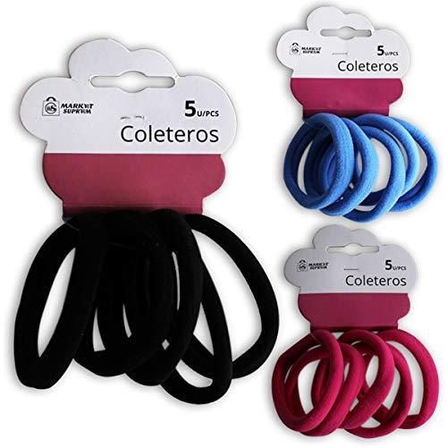 Market Suprem A5207 Set 5 coleteros Tela Azul Rosa Negro Surtidos Multicolor, 8.7 cm